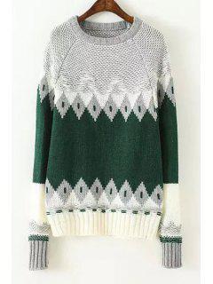 Color Block Geometric Pattern Round Neck Sweater - Green