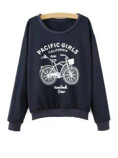 Bicycle Print Long Sleeve Sweatshirt - Cadetblue S