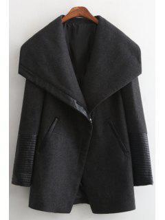 Large Lapel PU Spliced Thick Coat - Black S