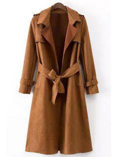 Epaulet Embellished Suede Coat With Belt - Dark Khaki L