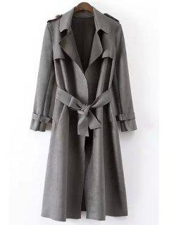 Epaulet Embellished Suede Coat With Belt - Gray L