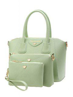 Metal Candy Color Letter Print Tote Bag - Green