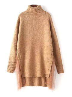 High-Low Hem Voile Spliced Turtle Neck Sweater - Khaki