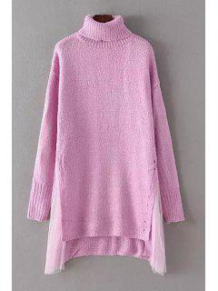 High-Low Hem Voile Spliced Turtle Neck Sweater - Pink