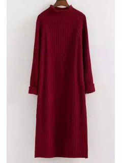 Mock Neck Solid Color Long Sleeves Sweater Dress - Red