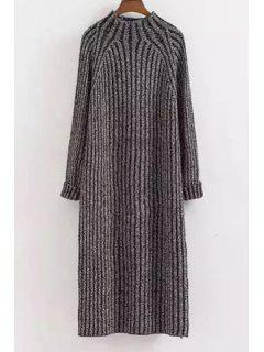 Mock Neck Solid Color Long Sleeves Sweater Dress - Deep Gray