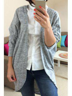 3/4 Sleeve Solid Color Thin Coat - Gray S