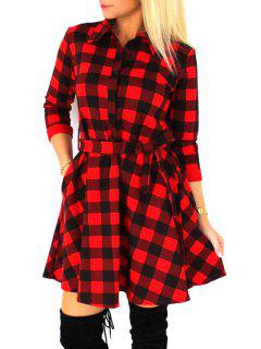 Checked Waisted Flat Neck 3/4 Sleeves Shirt Dress - Red M