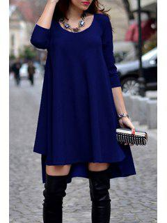 Scoop Neck Solid Color Dovetail Dress - Sapphire Blue Xl
