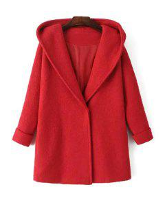 Solid Color Hooded Long Sleeves Woolen Coat - Red S