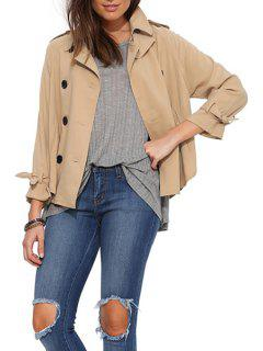 Double-Breasted Short Trench Coat - Apricot S