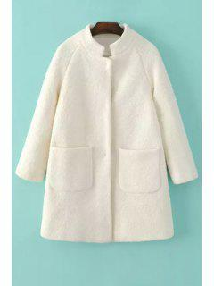 Solid Color Stand Collar Long Sleeves Woolen Coat - White M