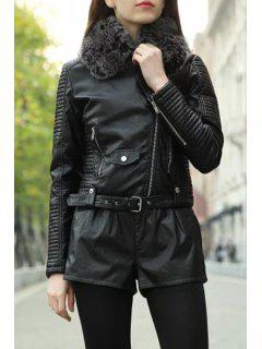 Black Fur Collar PU Leather Jacket - Black L