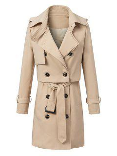 Solid Color Waistcoat And Long Sleeves Coat Twinset - Khaki M