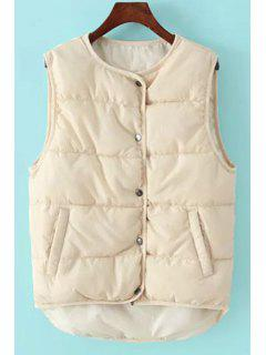 Round Collar Pure Color Waistcoat - Off-white