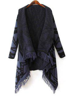 Geometric Pattern Fringes Spliced Turn-Down Collar Cardigan - Purplish Blue S