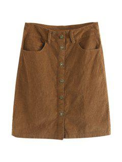 Corduroy High Waisted Single-Breasted Skirt - Brown M