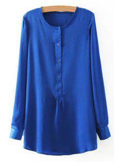 Side Slit Jewel Neck Long Sleeve Shirt - Sapphire Blue M