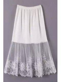 Lace Mesh Spliced A Line Skirt - White