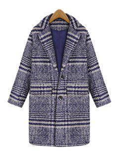 Lapel Striped Flap Pocket Wool Coat - Blue Xl