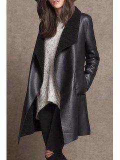Woolen Liner PU Leather Long Sleeves Coat - Black L
