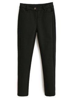 Pantalones Estrechos De Los Pies Estrechos Del Color Sólido - Negro L