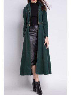 Zipper Turn Down Collar Trench Coat - Blackish Green 2xl