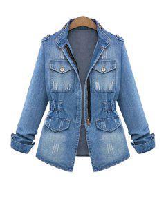 Stand Neck Bleach Wash Denim Jacket - Blue L