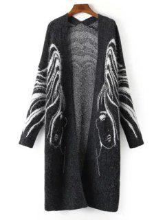 Mermaid Print Long Sleeves Cardigan - Deep Gray