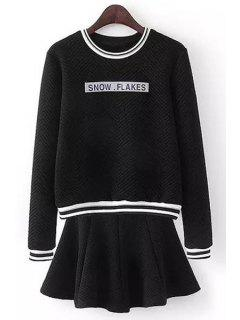 Letter Patch Sweater And Solid Color Skirt Twinset - Black L