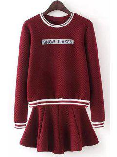 Letter Patch Sweater And Solid Color Skirt Twinset - Wine Red L