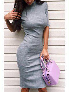 Half-Collar Half Sleeve Gray Bodycon Dress - Gray M