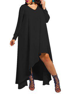 Solid Color Plus-Sized V-Neck Long Sleeves Dress - Black L