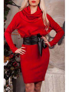Solid Color Heaps Collar Long Sleeves Bodycon Dress - Red L
