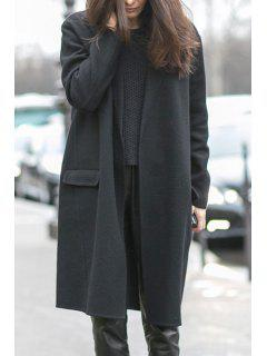 Open Front Pocket Design Black Coat - Black L