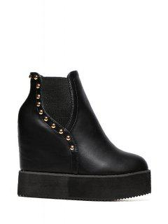 Rivet Platform Black Short Boots - Black 38