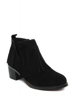 Fringe V-Shape Chunky Heel Ankle Boots - Black 39