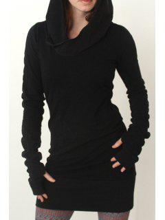 Black Hooded Long Sleeve Dress - Black S