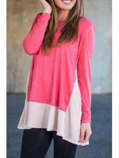 Long Sleeve Color Block Irregular Dress - Red M