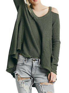 V-Neck Cut Out High Low Sweater - Olive Green