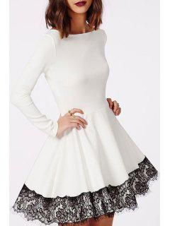 Lace Hook Spliced Boat Neck Long Sleeve Dress - White S