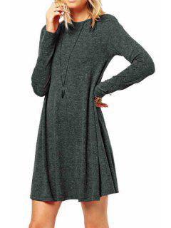 Long Sleeve Solid Color A-Line Dress - Deep Gray M