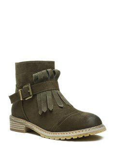 Solid Color Fringe Buckle Short Boots - Green 39