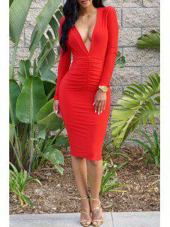 Backless Solid Color Plunging Neck Bodycon Dress - Red M