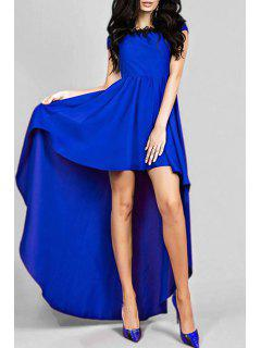High Low Hem Round Collar Maxi Dress - Purplish Blue M