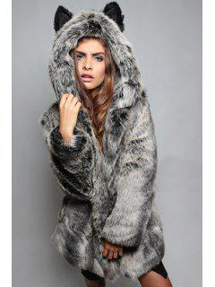 Hooded Bunny Ears Faux Fur Coat - Gray Xl