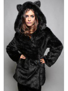 Hooded Bunny Ears Faux Fur Coat - Black 2xl