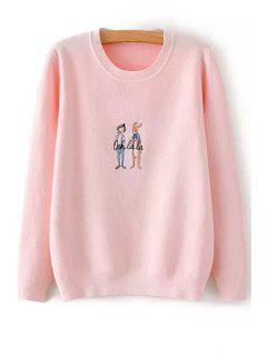Rabbit Embroidery Long Sleeve Jumper - Pink