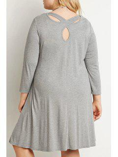 Solid Color Loose Fitting Round Collar Dress - Gray 3xl
