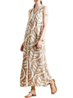 Sleeveless Leaf Print A-Line Maxi Dress - White M